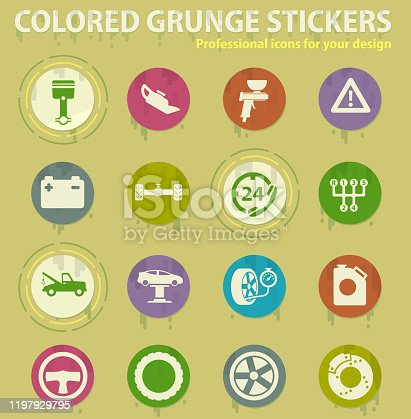 car service colored grunge icons with sweats glue for design web and mobile applications