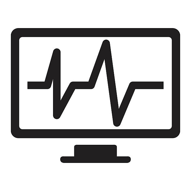Car service - computer diagnoctics icon vector art illustration