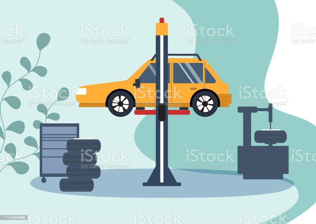 Car service concept, car repair. Flat vector illustration.