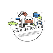 Car Service Concept Flat Line Icons