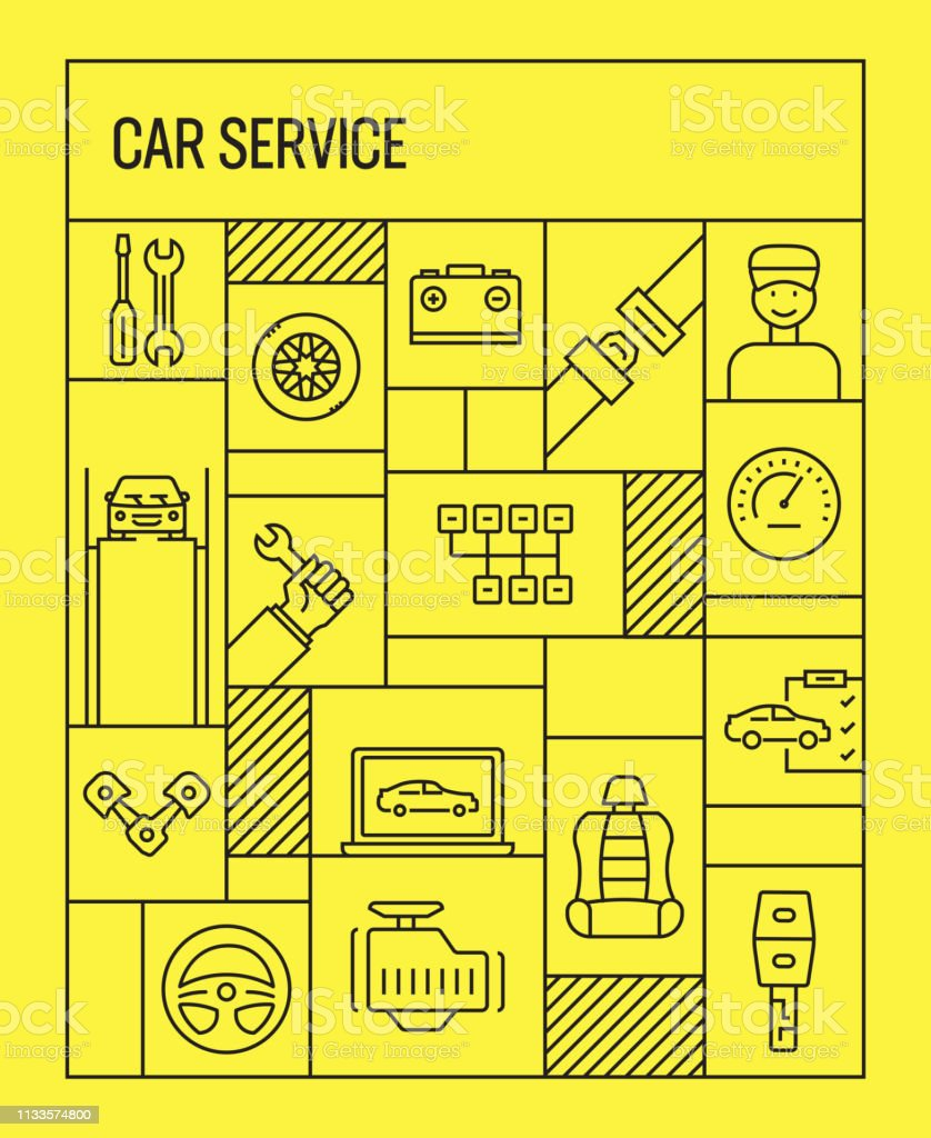 Car Service Concept. Geometric Retro Style Banner and Poster Concept...
