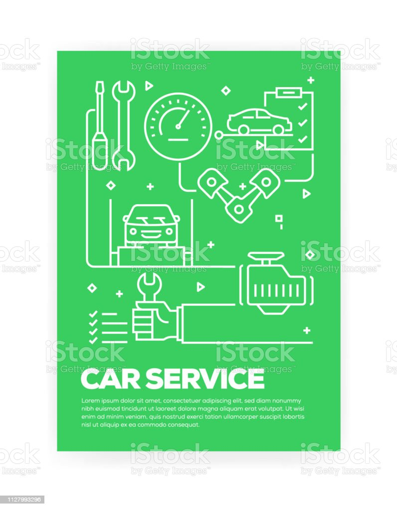 Car Service Concept Line Style Cover Design for Annual Report, Flyer, Brochure.