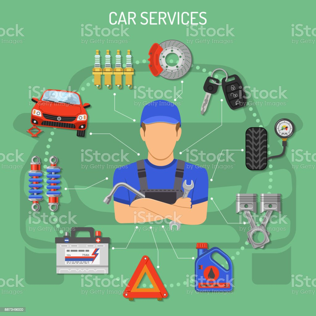 Car Service Concept vector art illustration
