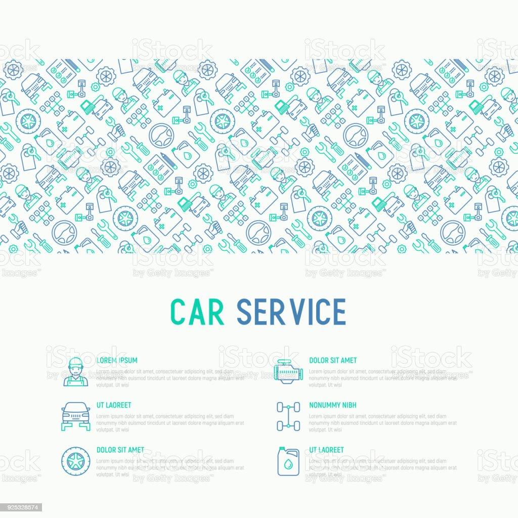 Auto Service Konzept Mit Dünne Linie Ikonen Der Mechaniker,  Computerdiagnostik, Werkzeuge,