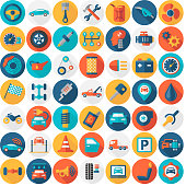 Car Service Garage Parts Transport Isolated Icons - Flat Round Color