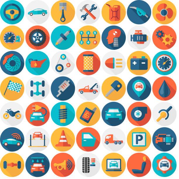 illustrazioni stock, clip art, cartoni animati e icone di tendenza di car service garage parts transport isolated icons - flat round color - close up auto