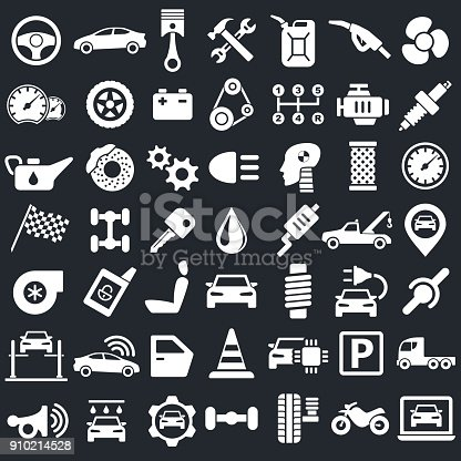 Car Service Garage Parts Transport Isolated Icons on Black Background - Vector Illustration
