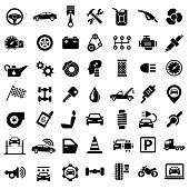 Car Service Garage Parts Transport Isolated Icons on White Background - Vector Illustration