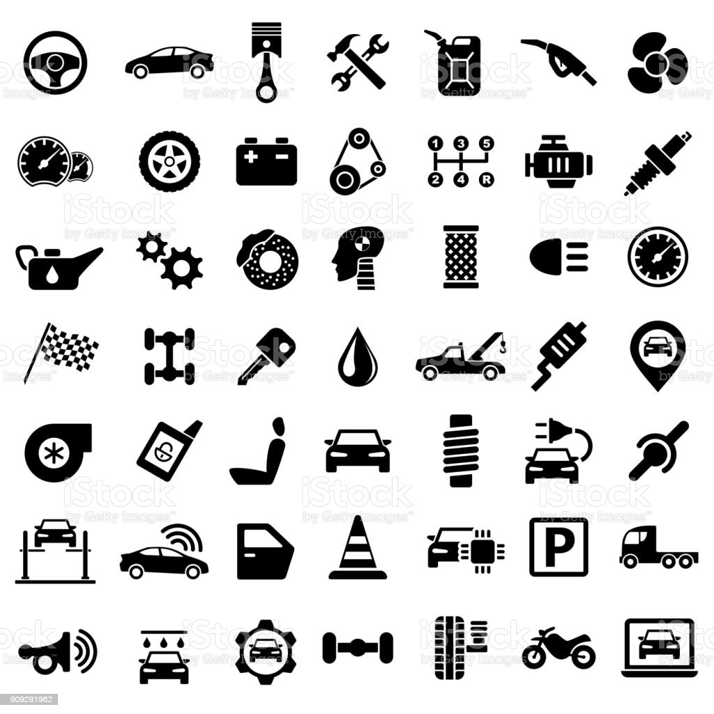 Car Service Garage Parts Transport Isolated Icons on White Background vector art illustration