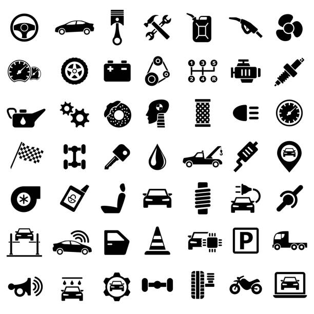 Car Service Garage Parts Transport Isolated Icons on White Background Car Service Garage Parts Transport Isolated Icons on White Background - Vector Illustration vehicle part stock illustrations