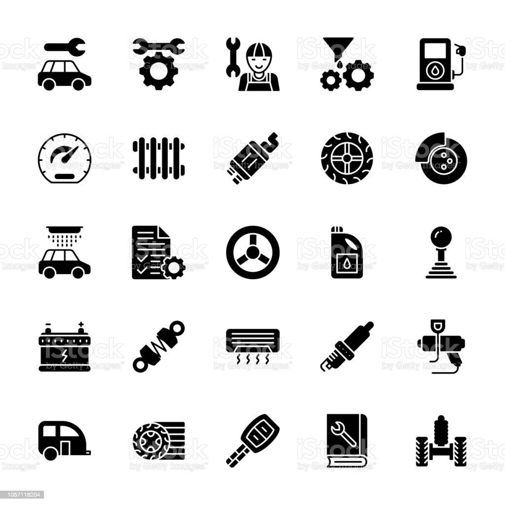 Car Service Glyph Vector Icons vector art illustration