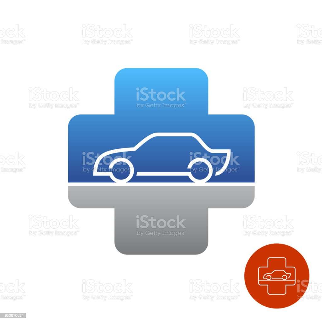 Car Service Help Symbol Medical Style Cross With Car Stock Vector