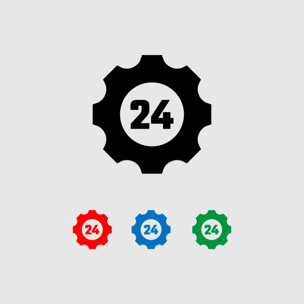 stockillustraties, clipart, cartoons en iconen met pictogram auto service, 24 uur. vier gekleurde vector pictogrammen. - call center