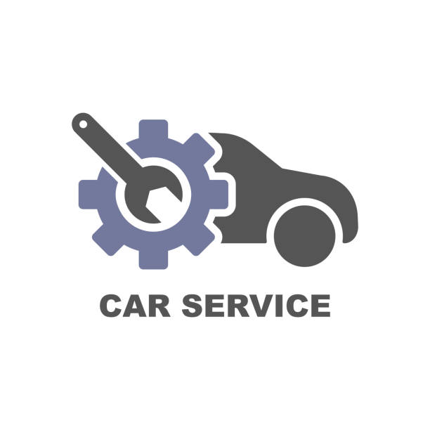 ilustrações, clipart, desenhos animados e ícones de ícone do serviço de carro. logotipo de reparação de cuidados. eps - garage