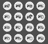 car service web icons stylized postage stamp for user interface design