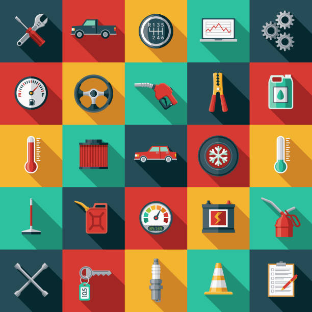 stockillustraties, clipart, cartoons en iconen met auto service icon set - plat