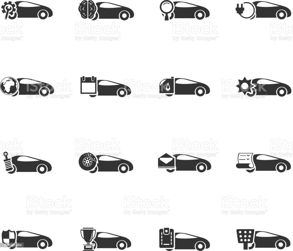 car service icon set vector art illustration