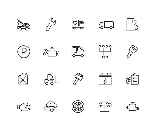car service icon set - caravan stock illustrations