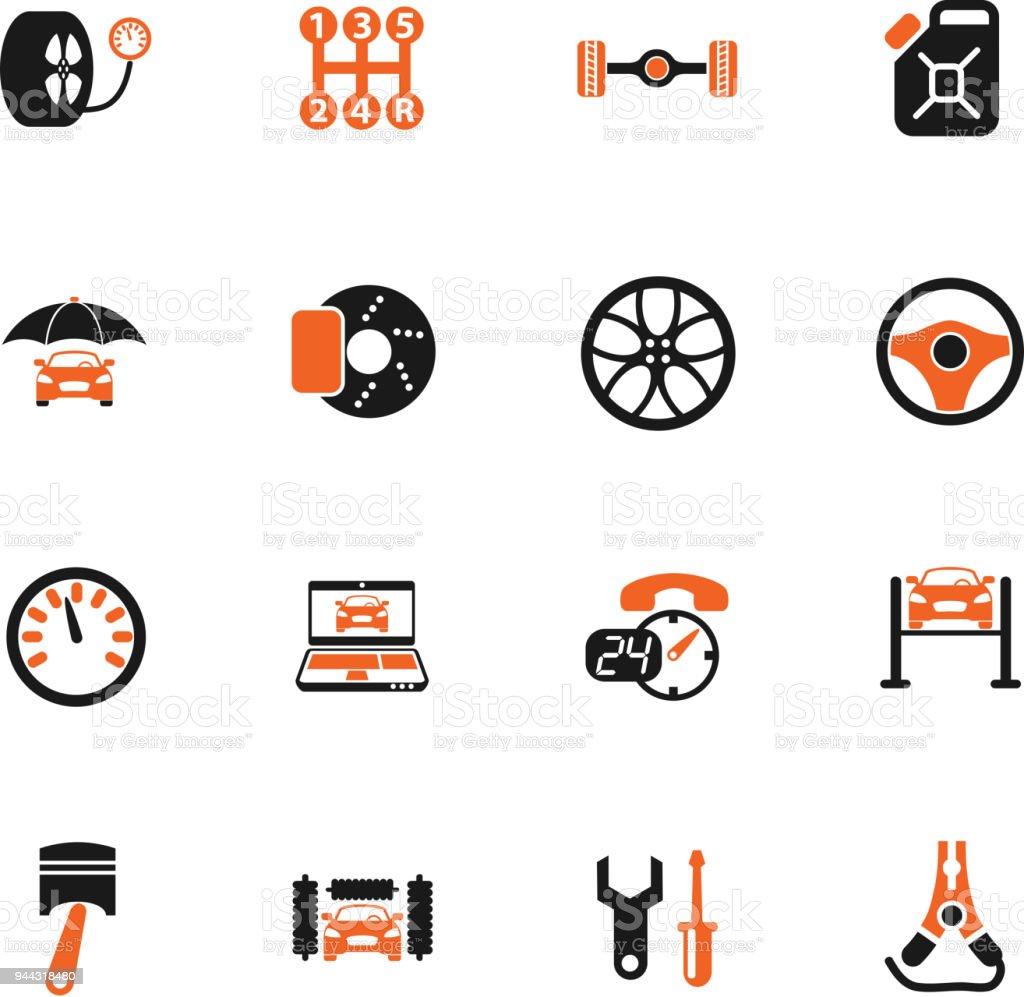 car service icon set vector art illustration