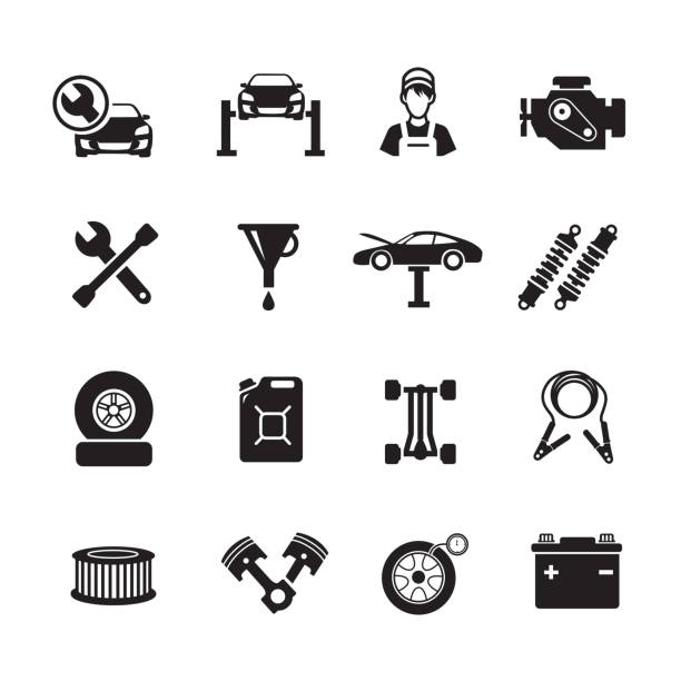 auto-service-symbol - autowerkstatt stock-grafiken, -clipart, -cartoons und -symbole
