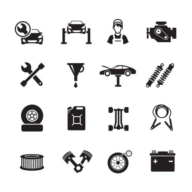 ilustrações, clipart, desenhos animados e ícones de ícone de serviço de carro - garage