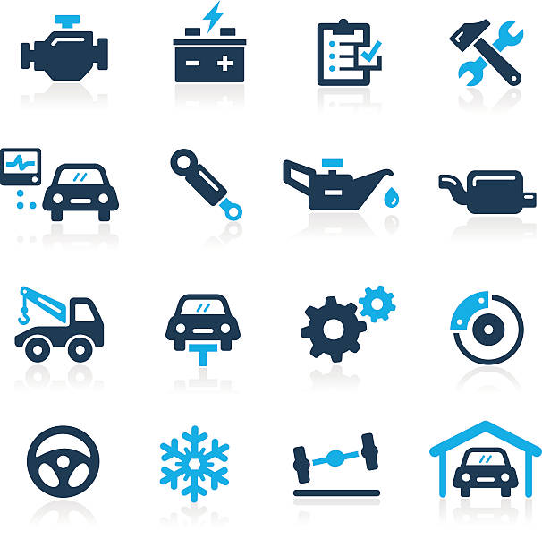 Car Service Icons // Azure Series vector art illustration