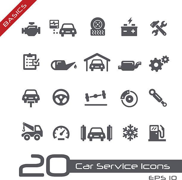 ilustrações, clipart, desenhos animados e ícones de serviço de carro de ícones-conceitos básicos - garage