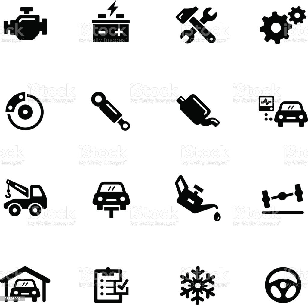 Car Service Icons // Black Series vector art illustration