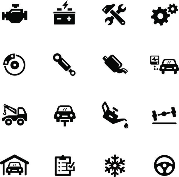 Car Service Icons // Black Series vector art illustration