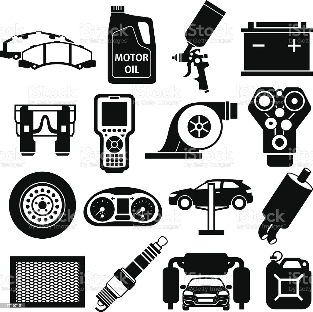 Car service icons black vector art illustration