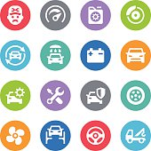 Car Service Icons - Circle Illustrations