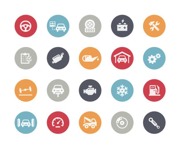 ilustrações, clipart, desenhos animados e ícones de carro serviço ícones / / clássicos - garage