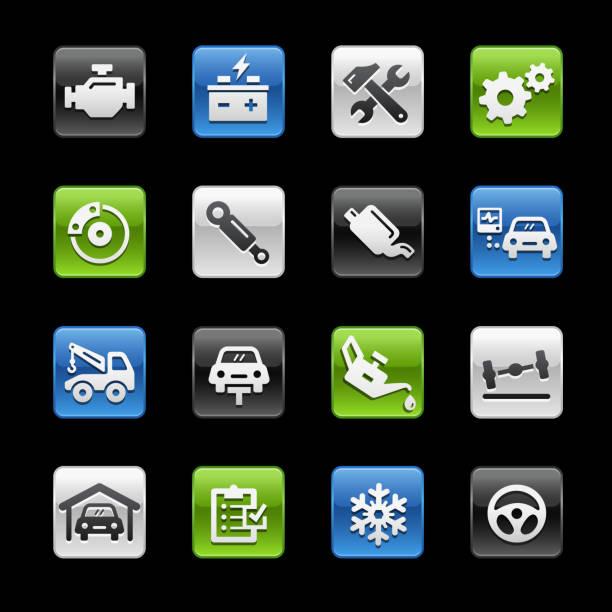 bildbanksillustrationer, clip art samt tecknat material och ikoner med bil service ikoner / / gelbox serien - wheel black background