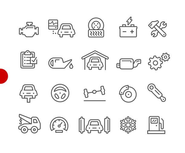 auto service symbole / / red point serie - autowerkstatt stock-grafiken, -clipart, -cartoons und -symbole