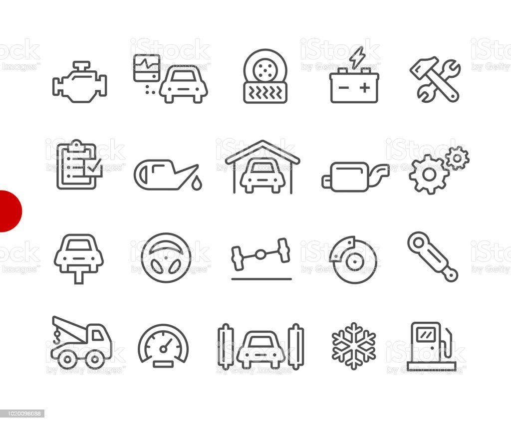 Auto Service Symbole / / Red Point Serie – Vektorgrafik