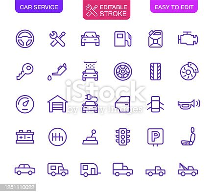 Car Service icons set editable stroke. Vector icons.