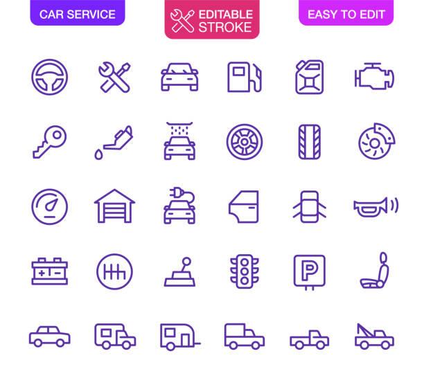 auto-service-symbole set editierbare strich - auto stock-grafiken, -clipart, -cartoons und -symbole