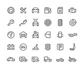 Auto repair workshop icons set. Line Vector Icons. 30 icons set.