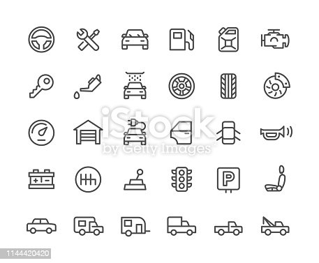 Auto repair workshop icons set. Line Vector Icons. 30 icons set.