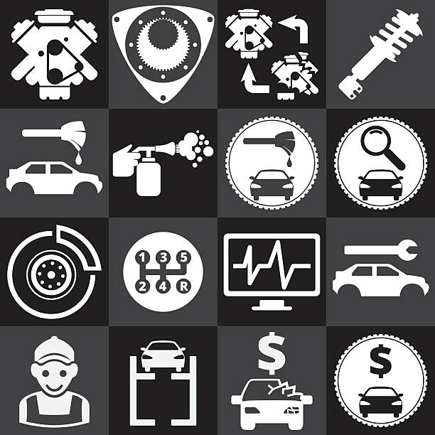 Car service icons set vector art illustration