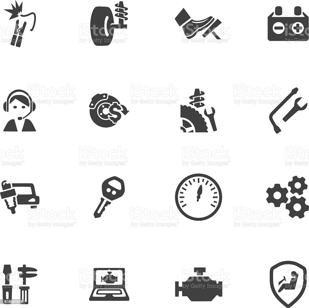 Car service icons set vector art illustration