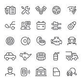 Car service, auto repair shop, garage, icon, icon set, auto parts, auto, maintenance, line icon