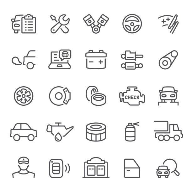 ilustraciones, imágenes clip art, dibujos animados e iconos de stock de auto servicio los iconos - mecánico