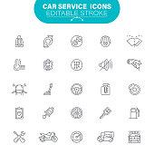 Auto Mechanic, Auto Repair Shop, Garage, USA, Editable Icon Set