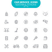Auto Mechanic, Auto Repair Shop, Garage, USA, Editable Icon Set