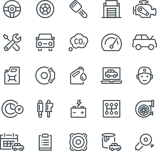 car service icons - mechanic stock illustrations, clip art, cartoons, & icons