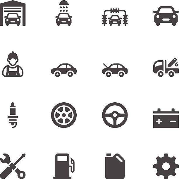 illustrazioni stock, clip art, cartoni animati e icone di tendenza di le icone di servizio auto - transport truck tyres