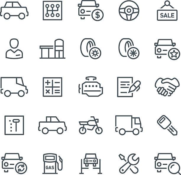 Car Service Icons Car, car dealership, transport, icon, icon set, engine, showroom, line, vector car salesperson stock illustrations