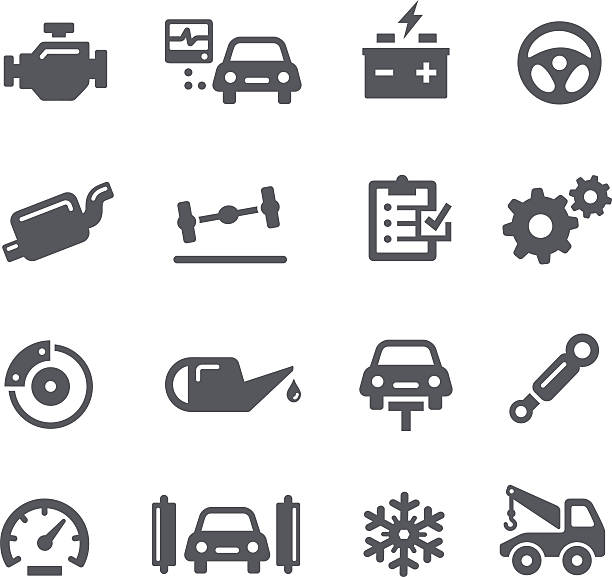 Car Service Icons Signalization car services icons for your Web or print projects.  vehicle part stock illustrations