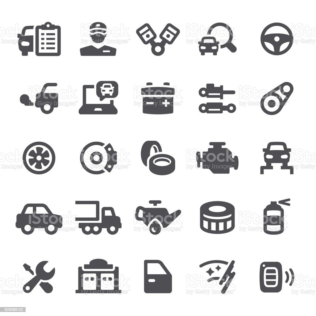 Car Service Icons vector art illustration